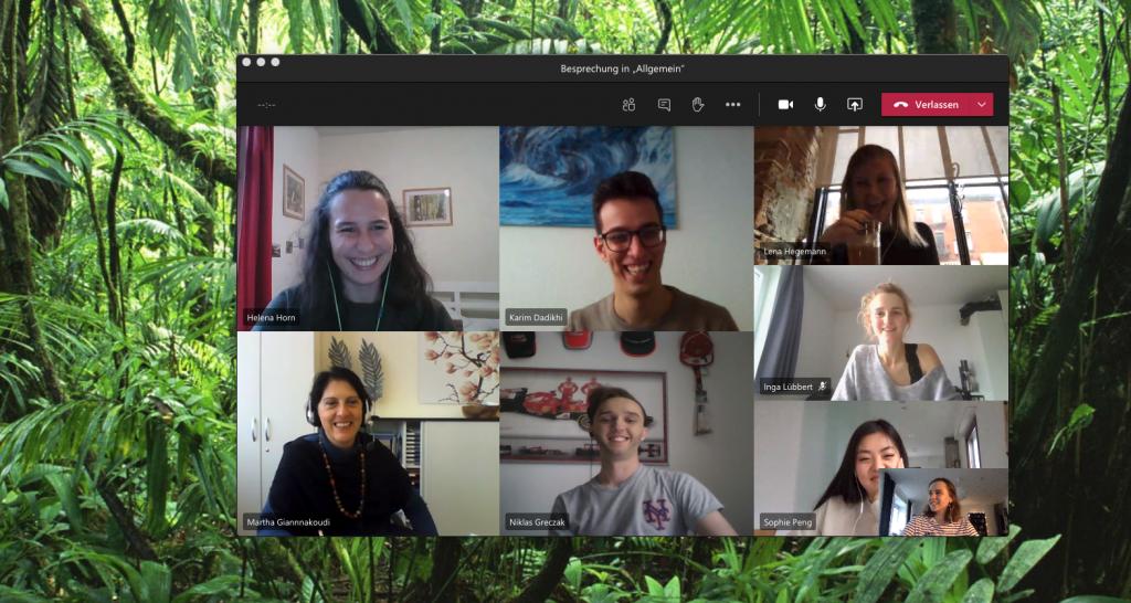 Virtuelles Teammeeting über Teams. Das Synnous Team lächelt in die Kamera