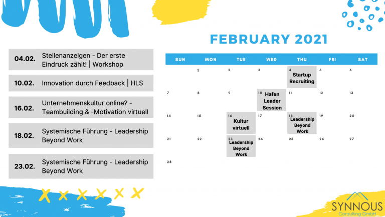 Kalender für Februar 2021
